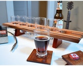 Personalized Laser Engraved Handmade Wood Home Brew Beer Sampler Tasting Flight Paddle Coaster Set  - The Small Stone - Custom Gift