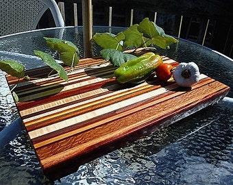 Handmade Extra Large Wood Cutting Board - The Farmers Market - Mahogany & Exotic Woods