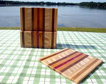 TG Exotic Wood Coaster with Caddy Set - Oak, Black Walnut, Flame Maple, Purple Heart, and Cherry