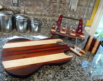 Personalized Beer Sampler Flight Tasting Paddle and Coaster Set with Guitar Cutting Board