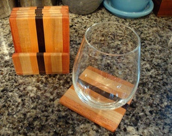 Handmade Exotic Wood Coaster with Caddy Set -  Mahogany & Hard Maple