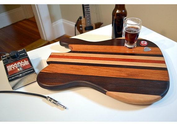 Personalized Laser Engraved Handmade Wood Rockin Guitar Cutting Chopping Butcher Board Block- Brazilian Cherry & Bloodwood Custom Gift