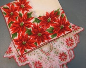 Two Bright and Cheerful Retro Vintage 1950's Holiday Christmas Poinsetta Hankies