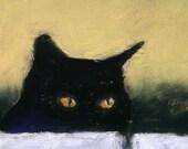 The Stalker 12x8 black cat closeup AlisaPaints