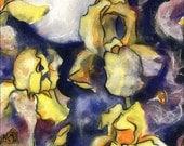 Irises Moon Print  - night landscape - watercolor collage - 5x7
