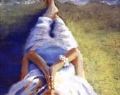 Landscape Woman Print - Meditation Art - Redhead -  8 x 12