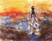 Original Painting Woman Sunset - woman in white dress - soft pastel