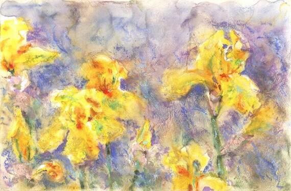 Original Painting Iris - yellow iris - alisa wilcher