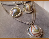 "Marble Glass Jabo ""Ladies First""- pendant/earring set"