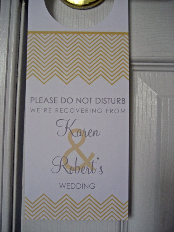 Reserved for Joan - Wedding Door Hangers  - Set of 60 - Chevron Stripes - Great for OOT Bags