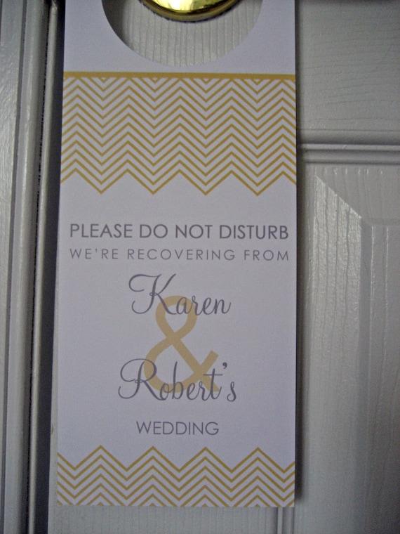 Reserved for Caroline  - Wedding Door Hangers  - Set of 100 - Chevron Stripes - Great for OOT Bags