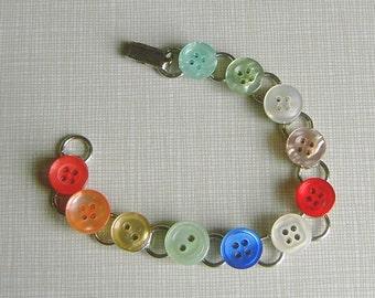 Flat pad repurposed vintage button bracelet, various colors, tints.