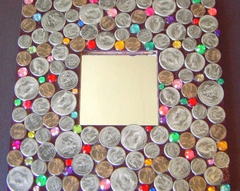 OOAK Handcrafted USA money and jewels collaged mirror