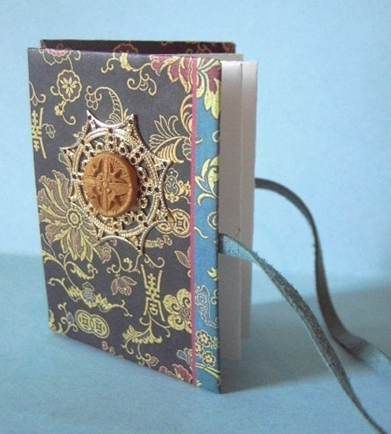 Asian design teeny tiny handcrafted repurposed journal