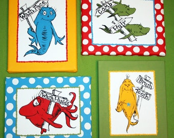 One Fish, Two Fish Inspired SET OF 4 Dr. Seuss Bathroom Set