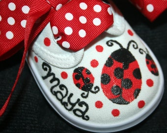 Girl's Custom Painted LADY BUGS Tennis Shoes Any Size