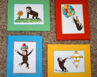 Set of 4 Monkey CURIOUS GEORGE Inspired Canvas Paintings Wall Art