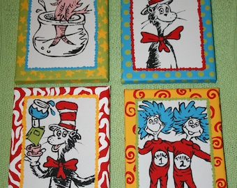 Set of 4 Seuss CAT in the HAT Inspired CHARACTERS Custom Hand Painted Wall Art 5x7