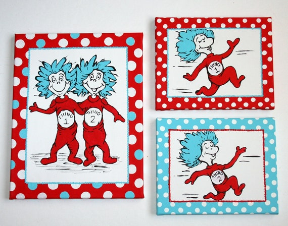 Thing One and Thing Two Dr SEUSS Inspired Set of THREE Paintings TWINS