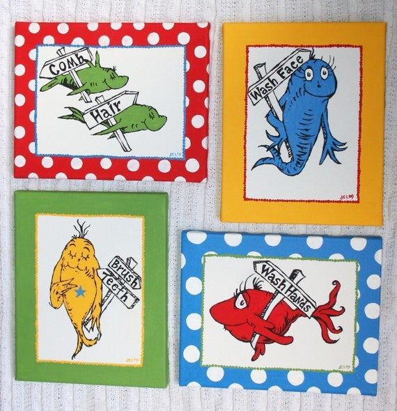 One Fish Two Fish Inspired SET OF 4 Dr Seuss CUSTOM PAINTINGS Bathroom Set.  One
