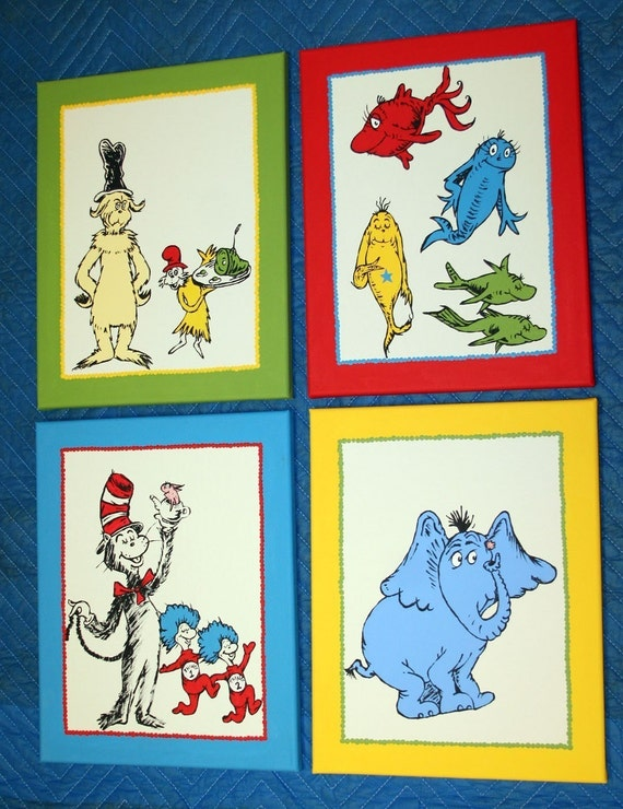 dr seuss inspired characters set of 4 custom hand painted. Black Bedroom Furniture Sets. Home Design Ideas
