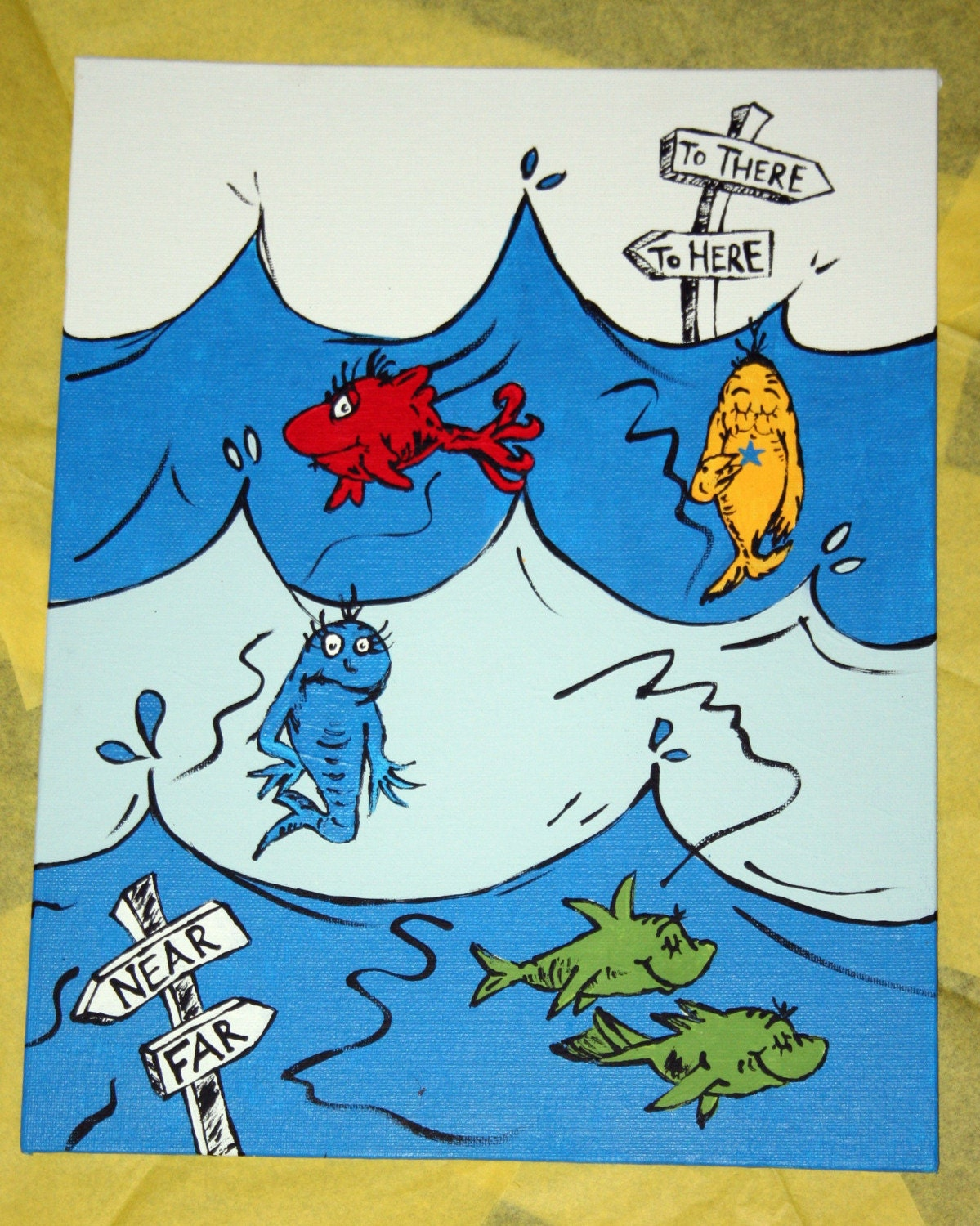 Dr Seuss One Fish Two Fish Underwater Scene Painting On