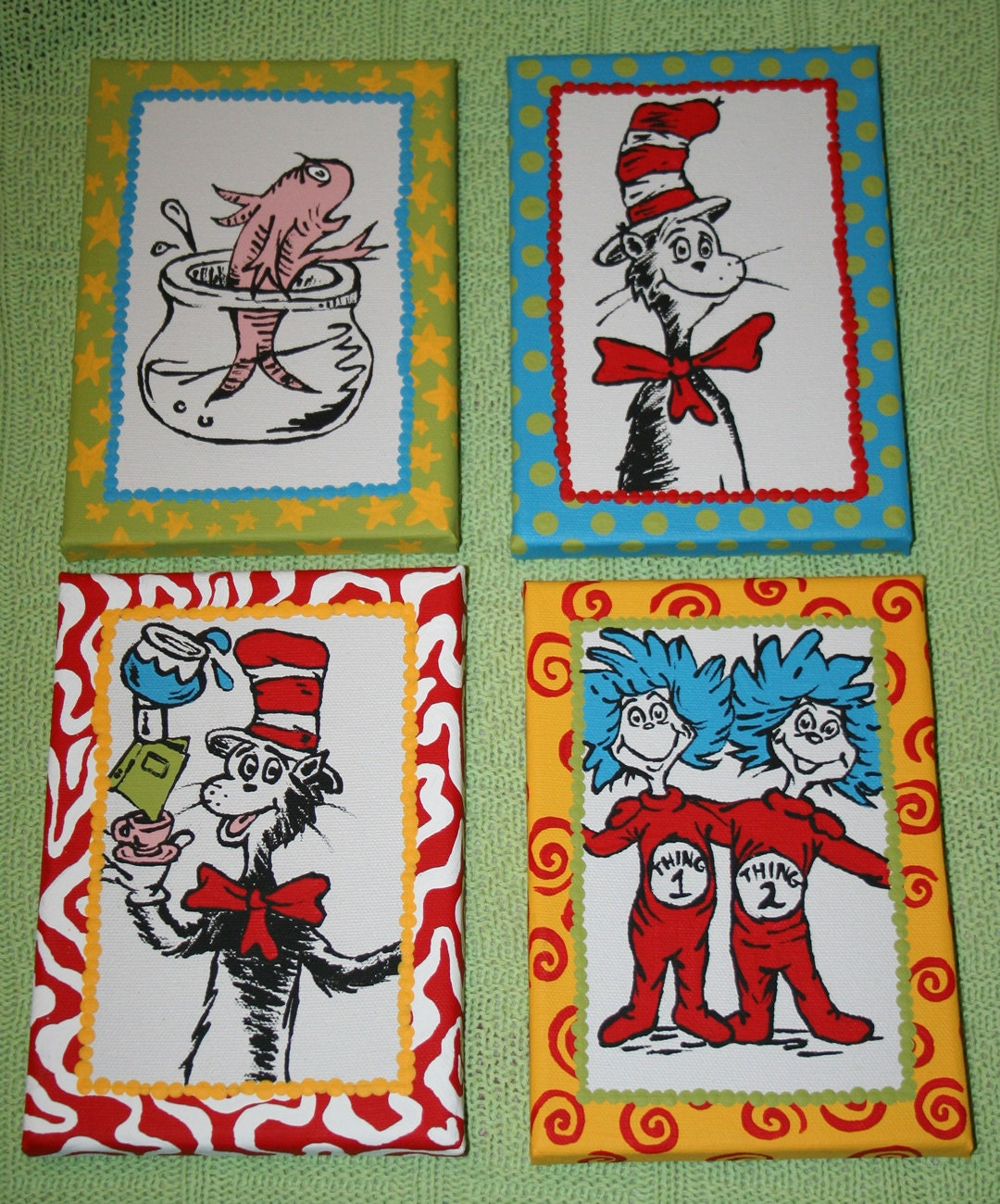 set of 4 seuss cat in the hat inspired characters custom hand. Black Bedroom Furniture Sets. Home Design Ideas