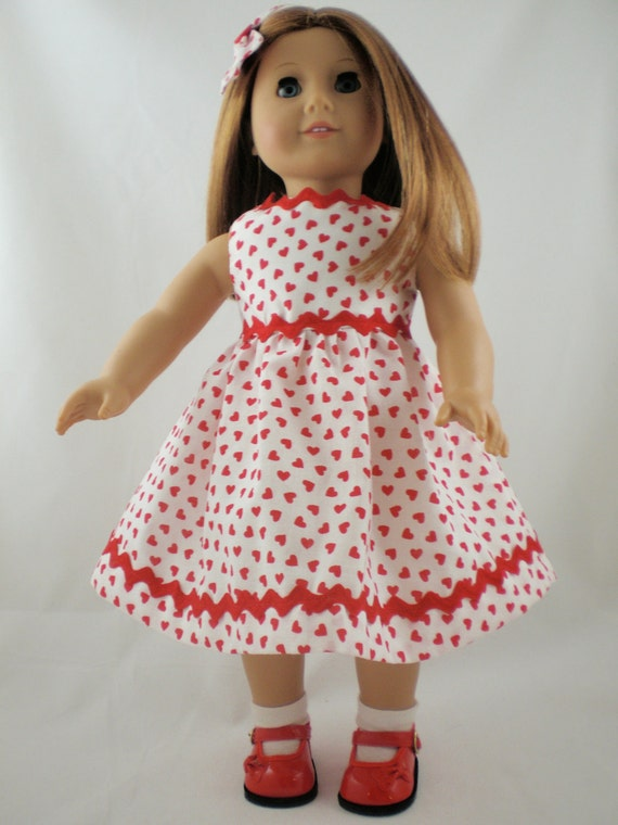 Hearts 4 You RED and WHITE  dress with rick rack and matching hair bow Free Hanger