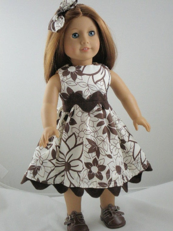 American Girl Doll Dress Rick Rack Collection Brown and White Flowers with Matching Hair Bow and FREE Hanger