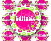 4x6 - EDITABLE PDF - Instant Download - Pink and Lime Peace and Flowers Design - Editable Digital Bottlecap Image Collage