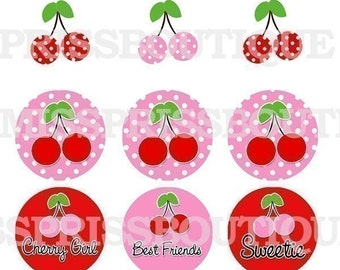 4x6 - CUTE CHERRY GIRL - Instant Download - One Inch Bottlecap Graphic Image Collage Sheet -No.298