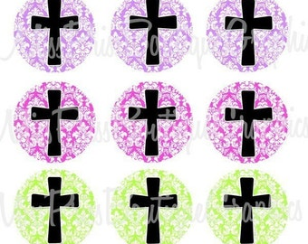 4x6 - DAMASK CROSSES - Instant Download - One Inch Bottlecap Digital Graphic Collage Image Sheets - No.376