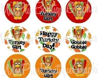4x6 - TURKEY TIME - One Inch Bottlecap Graphic Digital Collage Image Sheet - No.488