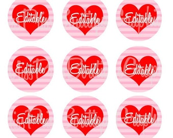 4X6 - EDITABLE PDF - Instant Download - Valentine Striped Hearts - Personalized -  Editable Bottlecap Digital Collage Image - No.828