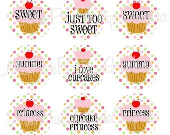4x6 - Pastel DOTS CUPCAKES - Instant Download - One Inch Bottle Cap Digital Collage Sheet  - No.589