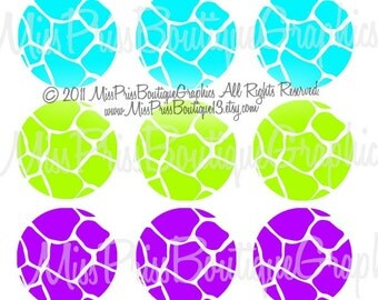 4x6 - GIRAFFE - Instant Download - Colorful Giraffe Backgrounds - One Inch Bottlecap Digital Graphic Collage Sheet - No.623