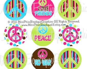 4x6 - FUN GIRLY PEACE - Instant Download - Fun Girly Peace Signs Designs -  One Inch Bottlecap Graphic Digital Image Collage - No.772