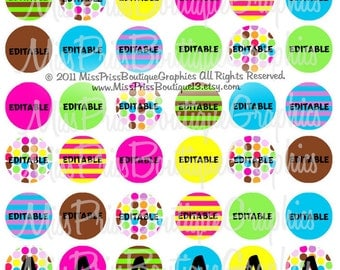 8x10 - EDITABLE PDF - Instant Download - Totally Multi-Dots and Stripes - 48 Images - Editable Digital Bottlecap Image Collage No.775