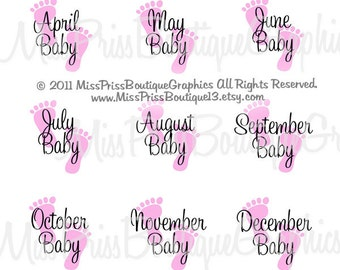 4x6 - BABY PINK FEET  - Instant Download - Baby Months - One Inch Bottlecap Graphic Digital Image Collage - No.776