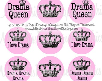 4x6 - DRAMA QUEEN  - Instant Download -  Girly Sayings -  One Inch Bottlecap Graphic Digital Image Collage Sheet -  No.866