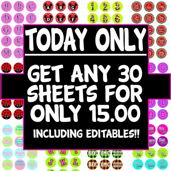 TODAY ONLY -- 30 Graphic Sheets for 15 dollars - Sale Sale -- Includes All Editable PDF's and Graphic Sheets