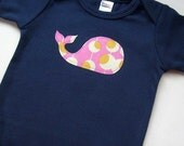 Size 0-3 months - Short Sleeve Navy Blue Bodysuit with a Pink Whale Applique - Baby Girl Clothes