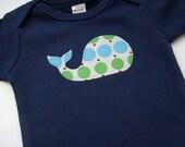Cute Baby Boy Whale Clothes // Bodysuit Size 12-18 months // Polka Dot Whale Applique Bodysuit Short Sleeves Navy Blue