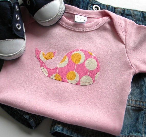 Size 0-3 months - Pink Whale Bodysuit - Applique - Newborn Baby Girl Clothes