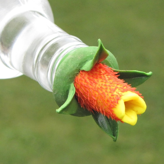 HUMMINGBIRD FEEDER  Candy Corn Vine on Clear Bottle