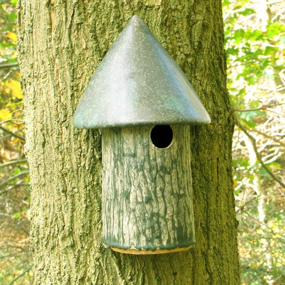 "Bird House in Stoneware--""Tree Hugger"" Design for Titmice"