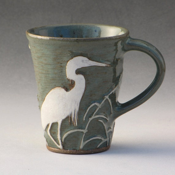 Heron Mug --Carved Stoneware with Celadon Glaze and Grasses