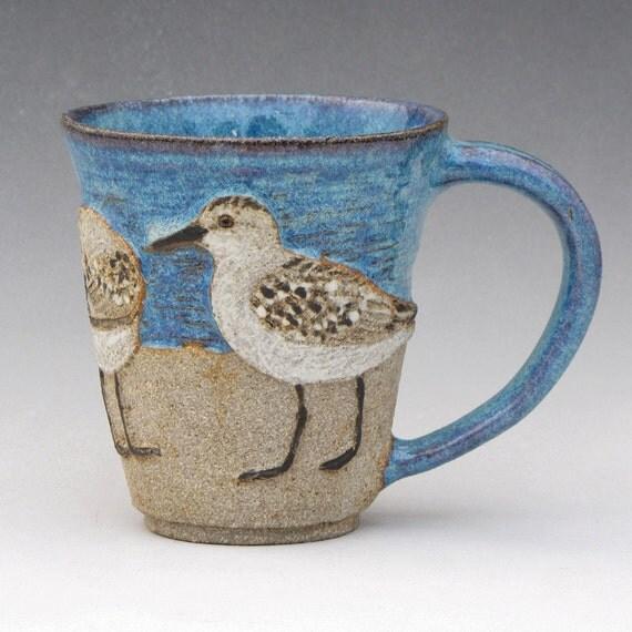 BIRDS & BEACH MUG -- 3 Sanderlings