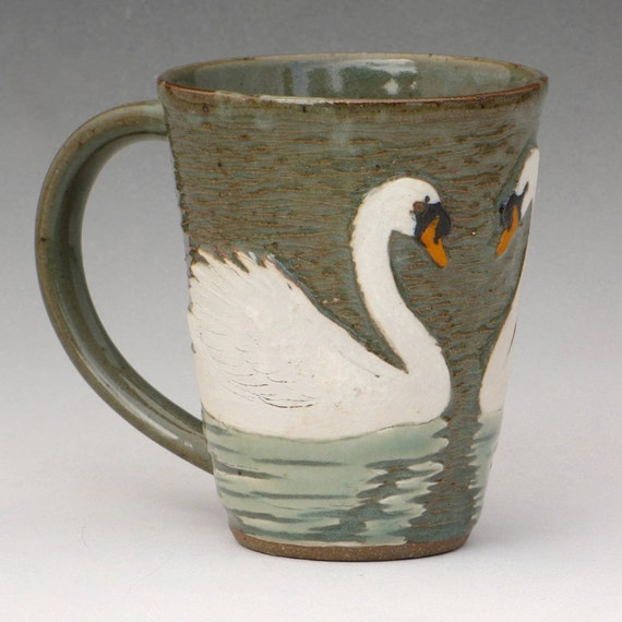 Swan Mug--White Slip and Celadon--swimming away from the handle