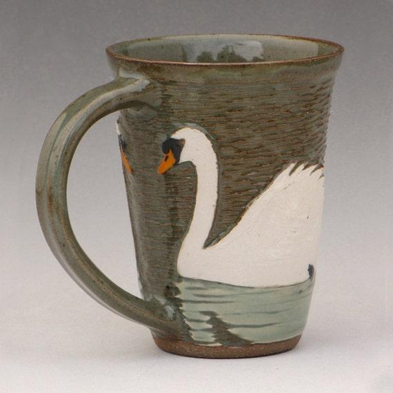 Swan Mug--White Slip and Celadon--swimming towards the handle